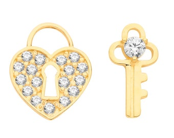 9ct Yellow Gold Pave Cz Heart Padlock and Key Stud Earrings - Real 9K Gold