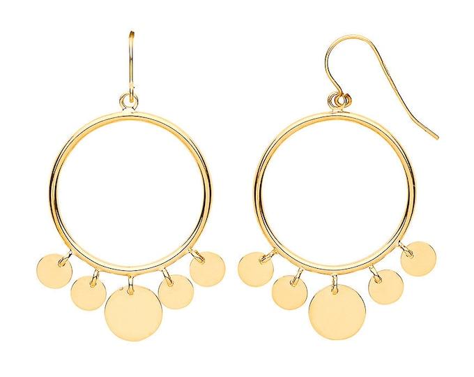 9ct Yellow Gold 2.2cm Diameter Gypsy Disc Circle Hook Drop Earrings