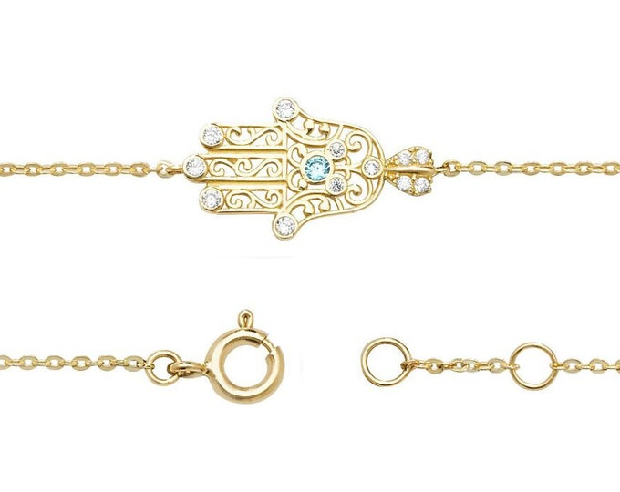 "Hamsa Hand Cz Scroll Design Bracelet 9ct Yellow Gold 7"" Bracelet"