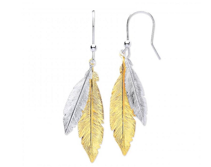 925 Sterling Silver and Gold Plated Silver Feather 4cm Drop Earrings