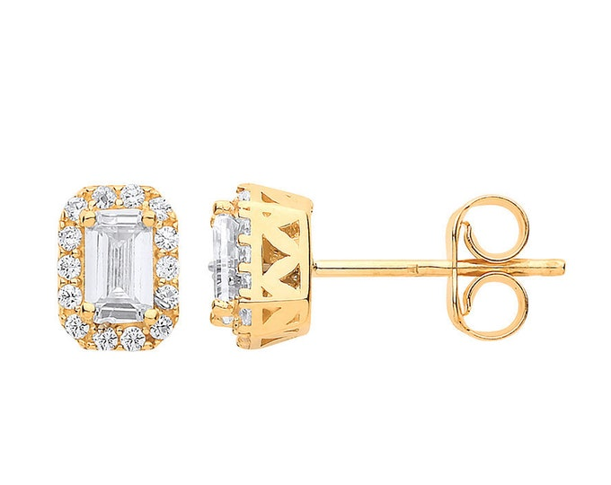 9ct Yellow Gold Cz Baguette Cut Halo Cluster Stud Earrings 7x5mm