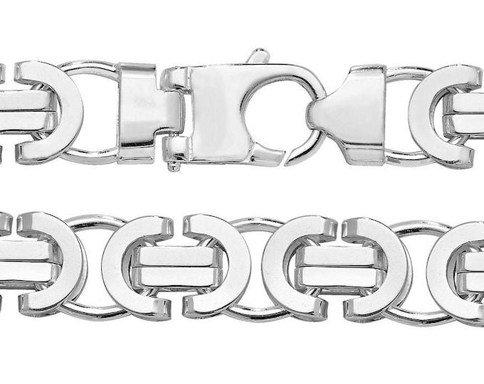 """Gents 14m Wide 925 Sterling Silver 8.5"""" Chunky Flat Byzantine Bracelet Hallmarked"""