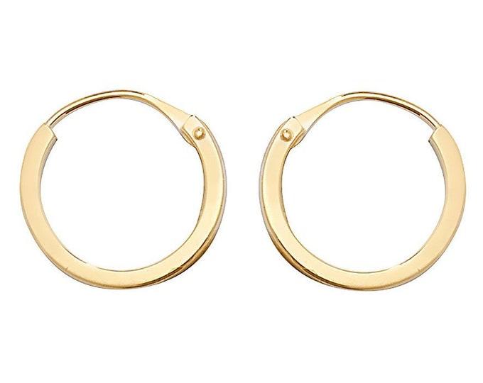 9ct Yellow Gold 10mm Diameter Hinged Threader Sleeper Flat Hoop Earrings - Real 9K Gold