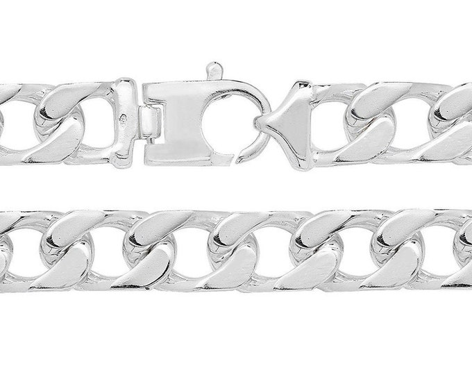 """Gents Solid 925 Sterling Silver 8.7"""" Chunky Flat Square Curb Chain Bracelet Hallmarked"""