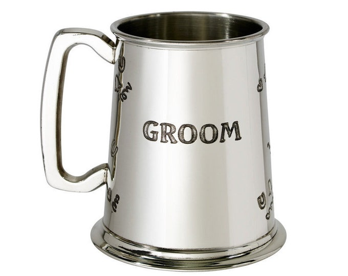 Personalised Groom 1 Pint Pewter Tankard Engraved Customised Message