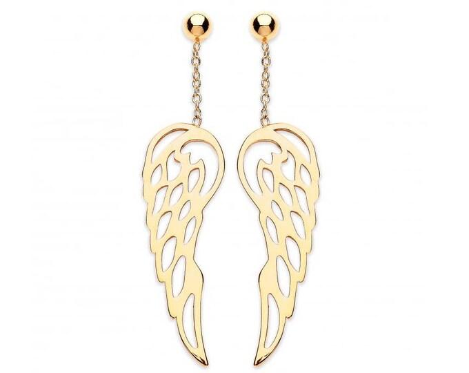 9ct Gold Guardian Angel Wings 35mm Drop Earrings