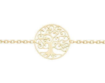 "Ladies 9ct Yellow Gold Tree of Life Disc  7"" Fine Lightweight Chain Bracelet - Real 9K Gold"