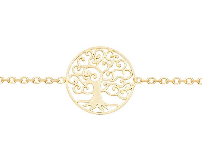 """Ladies 9ct Yellow Gold Tree of Life Disc  7"""" Fine Lightweight Chain Bracelet - Real 9K Gold"""
