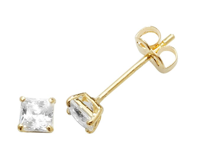 9ct Yellow Gold 4 Claw Set Square Cz Princess Solitaire Stud Earrings 3mm 4mm 5mm - Real 9K Gold