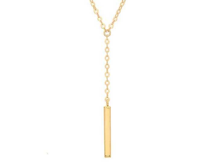 "9ct Yellow Gold Bar lariat Necklace on Adjustable 16""-18"" Rolo Chain"