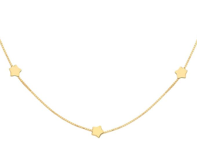 """9ct Yellow Gold Interstellar Star Chain 18"""" Necklace"""