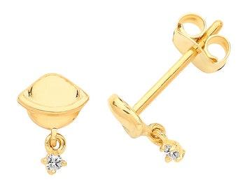9ct Yellow Gold Interstellar Cz Saturn Planet Stud Earrings - Real 9K Gold