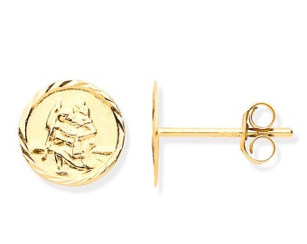 9ct Yellow Gold 6mm Round St Christopher Embossed Stud Earrings