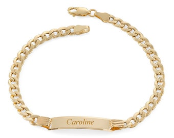 """Ladies 9ct Yellow Gold 7"""" Curb Chain ID Bracelet 9.5g - Personalised Engraved Name"""