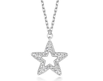 "9ct White Gold 0.06ct Diamond Pave Star Pendant on 17"" Necklace Hallmarked"