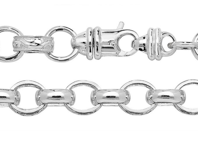 "Men's Heavy Solid 925 Sterling Silver 9"" Embossed 10mm Link Belcher Chain Bracelet"