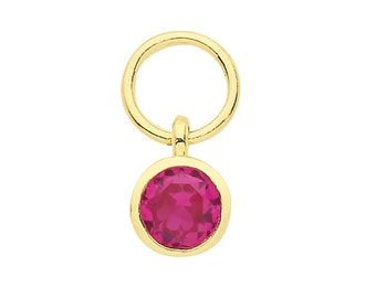 Single 9ct Yellow Gold 3.5mm Bezel Ruby Red Solitaire Cz Earring Charm - Hoop NOT included