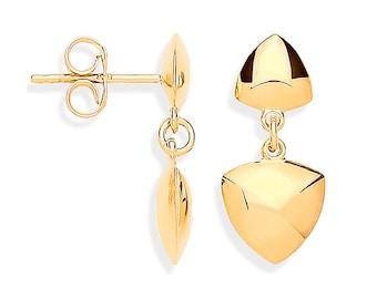 9ct Yellow Gold 2cm Hollow Triangular Geometric Link Drop Earrings - Real 9K Gold