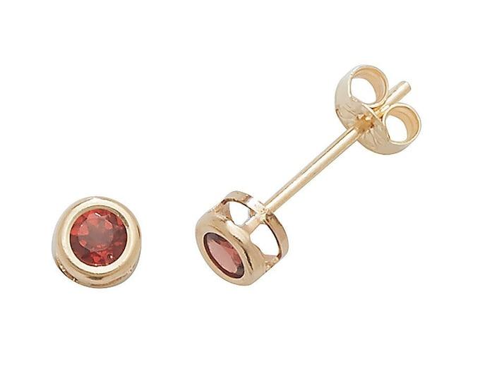 Garnet Stud Earrings - 9ct Yellow Gold 3mm Real Red Garnet Stud Earrings