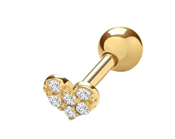 9K Yellow Gold Pave Cz Heart Cartilage 6mm Bar Single Stud Screw Back Earring