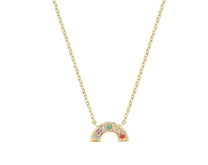 """9ct Yellow Gold Small Cz Rainbow Charm 15.5"""" to 17.5"""" Necklace Hallmarked - Real 9K Gold"""
