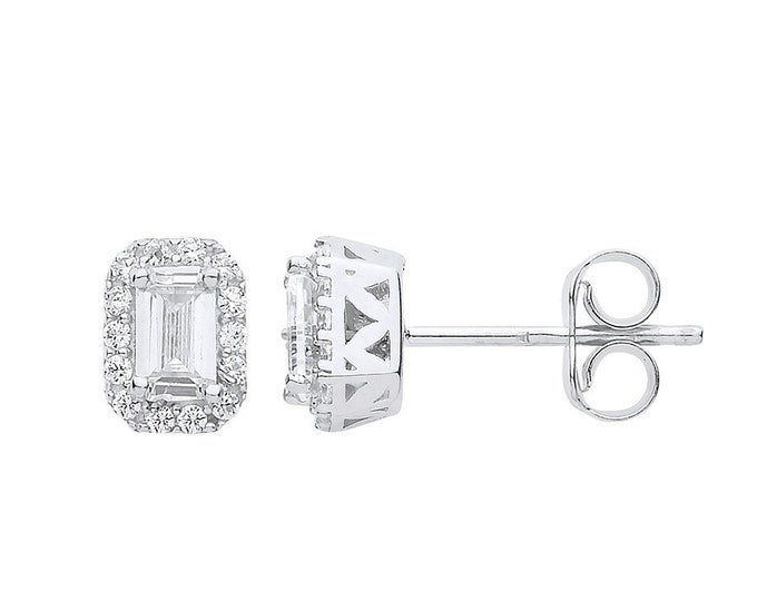 9ct White Gold Cz Baguette Cut Halo Cluster Stud Earrings 7x5mm