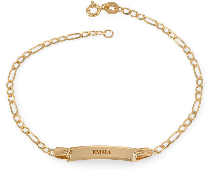 "Ladies 9ct Yellow Gold 7"" Figaro Chain ID Bracelet - Personalised Engraved Name"