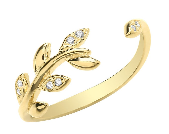 Ladies 9ct Yellow Gold Cz Pave Set Wreath Torque Ring Hallmarked 375