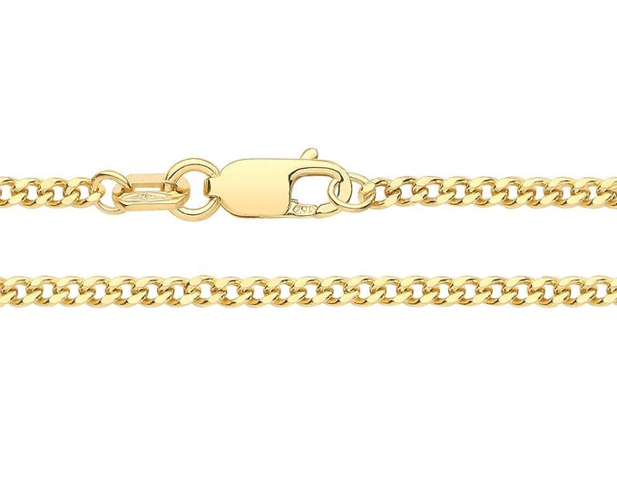 9ct Yellow Gold 1.8mm Wide Close Curb Link Chain Necklaces Hallmarked - 9K Gold