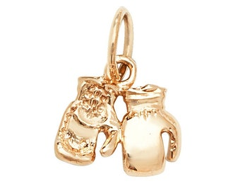 Pair of Small 8mm 9ct Yellow Gold Boxing Gloves Pendants Hallmarked 1.5g