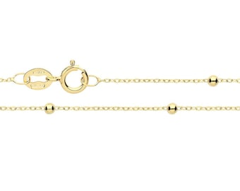 9K Yellow Gold Fine Lightweight Beaded Flat Trace Cable Chain- Solid 9K Gold