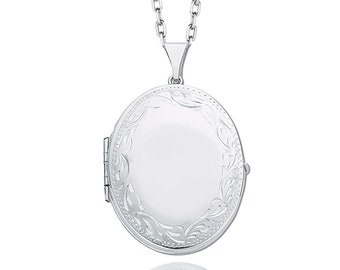 Large 925 Sterling Silver Engraved Border 4 Photo Family Oval Locket