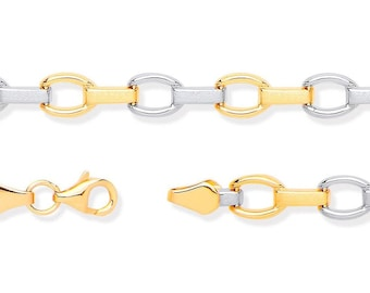 "Ladies 9ct 2 Colour Yellow & White Gold Oval Link 7"" Bracelet Hallmarked"