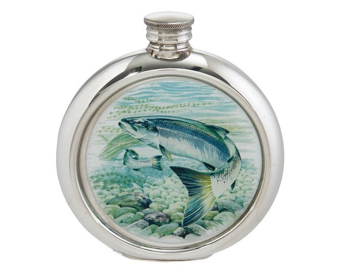 Personalised 6oz Round Pewter Fishing Picture Hip Flask Engraved Message