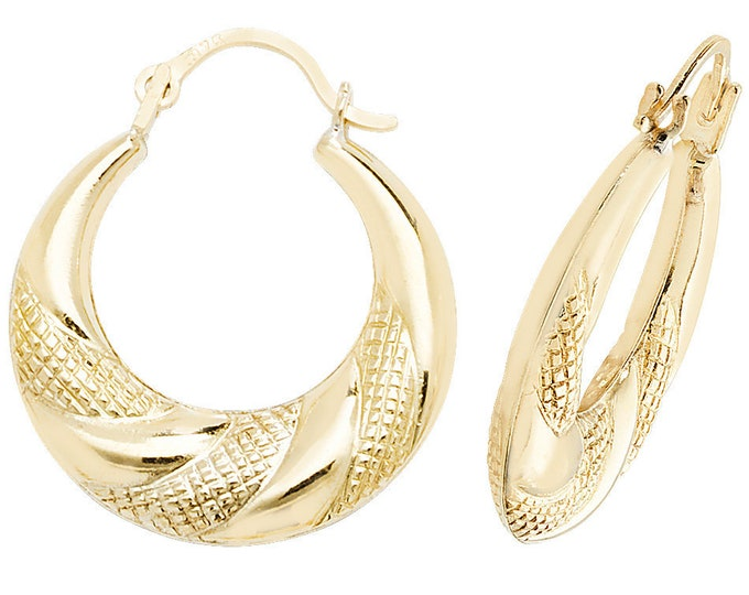 9ct Yellow Gold Diamond Cut Pattern 12mm Creole Hoop Earrings
