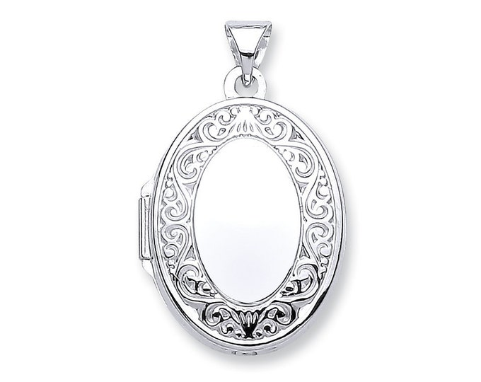 9ct White Gold Scroll Border 2 Photo Oval Shaped Locket