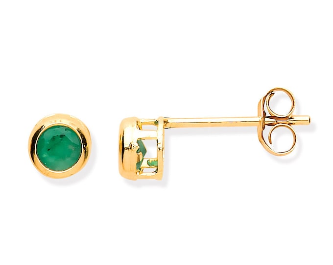 Emerald Stud Earrings - 9ct Yellow Gold 3mm Real Emerald Stud Earrings