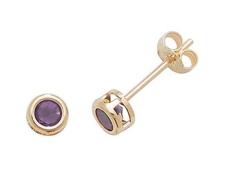 Amethyst Stud Earrings 9ct Yellow Gold 3mm Real Purple Amethyst Stud Earrings - Real 9K Gold
