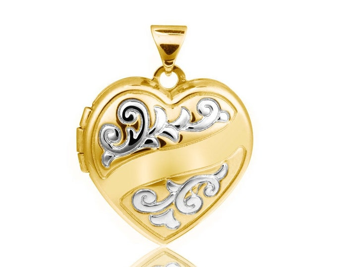 Gold Plated Sterling Silver 1.7cm 2 Photo Scroll Ribbon Heart Locket