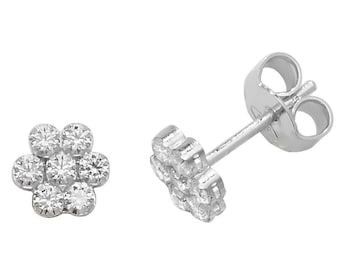 925 Sterling Silver 6mm Brilliant Cz Cluster Flower Stud Earrings