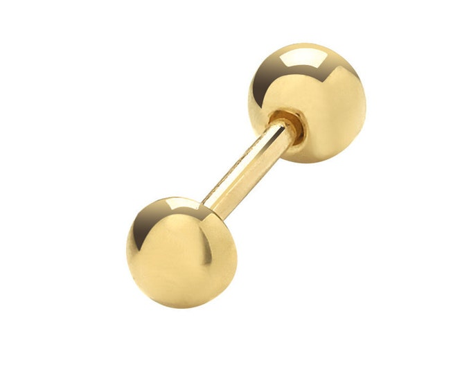 SINGLE 9ct Yellow Gold 3mm Button Barbell Cartilage 6mm Bar Stud Screw Back Earring - Real 9K Gold