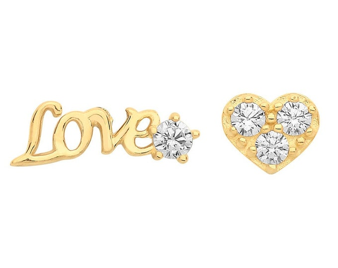 9ct Yellow Gold 'Love' and Pave Cz Heart Stud Earrings - Real 9K Gold