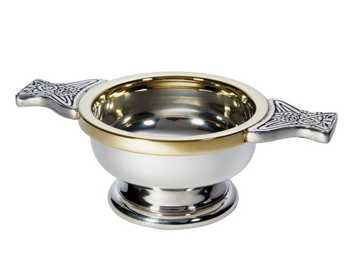 Brass Rim Pewter Quaich Bowl Personalised Engraved Message