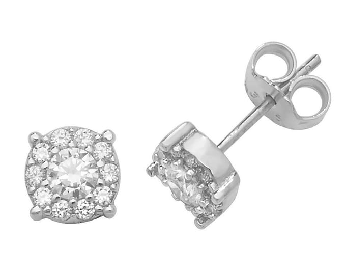 9ct White Gold Cz Solitaire Halo Cluster Cz 6mm Stud Earrings Hallmarked