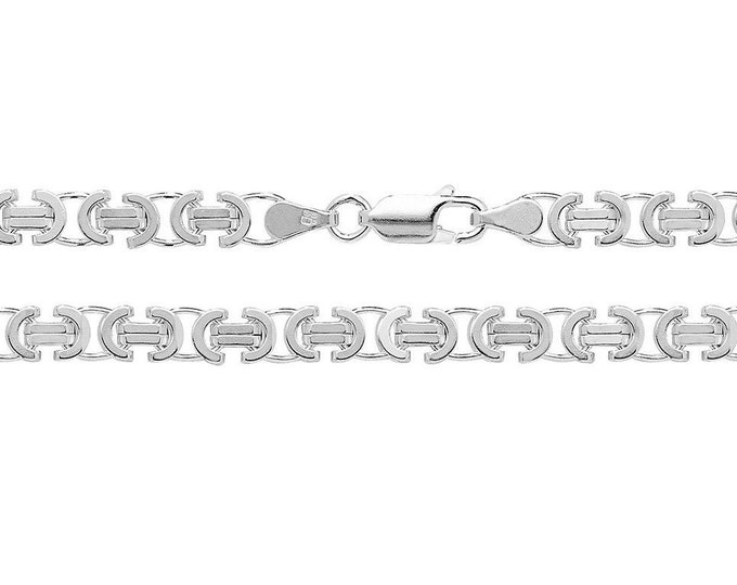 """Solid 925 Sterling Silver Flat Byzantine 4mm Wide Chain 18"""" 20"""" 22"""" 24"""" 26"""" 28"""" 30"""""""
