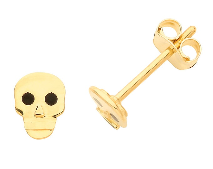 9ct Yellow Gold Small 6x4mm Skull Design Stud Earrings