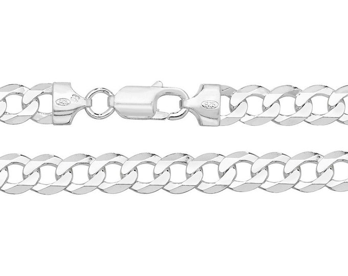 925 Sterling Silver Chunky 7mm Flat Curb Chain Necklaces - Choice of Lengths
