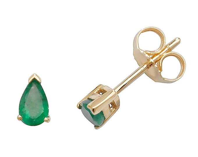 Pear Cut Green Emerald 5x3mm Claw Set Stud Earrings 9ct Yellow Gold Real Emerald