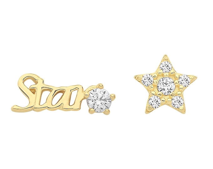 9ct Yellow Gold 'Star' and Pave Cz Star Shaped Stud Earrings