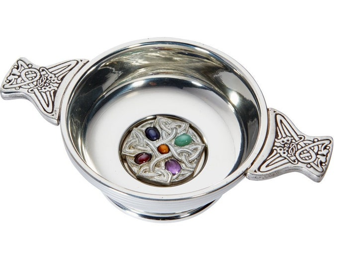 Celtic Cross Gem Set 9cm Celtic Handle Pewter Quaich Bowl Personalised Engraved Message